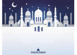 白色的清真寺星月开斋节