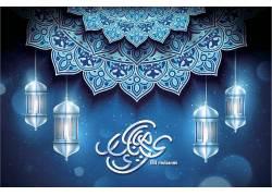 蓝色的花纹灯笼开斋节