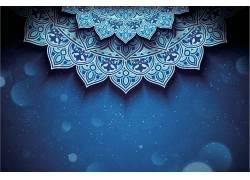 蓝色的花纹开斋节