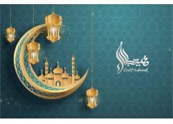 金色的灯笼月亮清真寺花纹开斋节