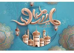 金色的灯笼清真寺花纹开斋节