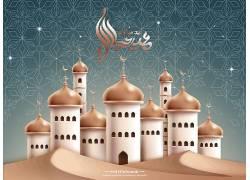 黄色的清真寺蓝色花纹开斋节