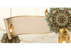 彩色花纹金色灯笼开斋节