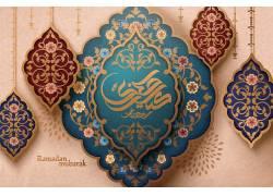 彩色的花纹清真寺开斋节