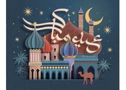 彩色的清真寺星月开斋节