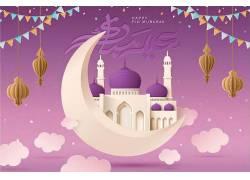 紫色的清真寺星月灯笼开斋节