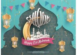 金色的灯笼清真寺月亮开斋节