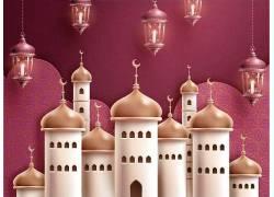 清真寺红色的灯笼开斋节