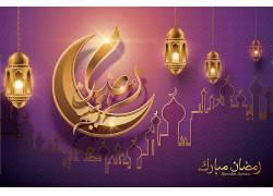 金色的清真寺灯笼月亮开斋节