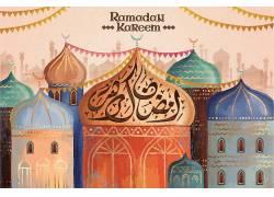 彩色的清真寺彩旗开斋节