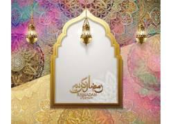 彩色的花纹清真寺灯笼开斋节
