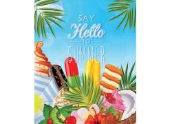 热带水果绿叶蓝天夏日海报