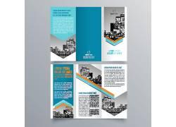 蓝色通用简约时尚商务宣传三折页设计图片