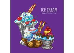 彩色的水果冰淇淋