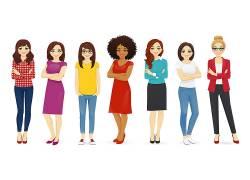 卡通时尚女人矢量