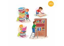 书本读书的小男孩卡通矢量图片