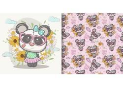 卡通 熊猫 和花 生活百科