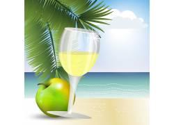 青苹果汁海洋绿叶