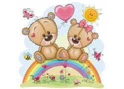 黄色的卡通小熊彩虹草地