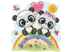 卡通熊猫彩虹草地