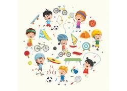 彩色的卡通儿童圆形矢量图片