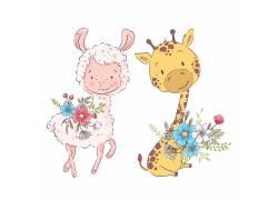 卡通动物素材 羚羊长颈鹿,图片