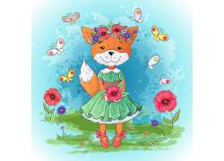手绘 狐狸 草地 花朵 动物 素材