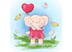 卡通动物大象矢量素材图片
