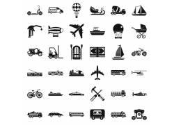 度假旅行黑白图标 矢量素材