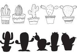 形态各异的仙人掌手绘矢量图