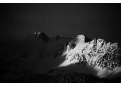 飘洒的雪花雪山山峰图片摄影素材图片