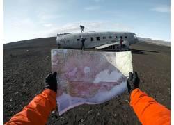 世界地图与飞机人物素材