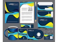 蓝色流线型企业商务VI设计模板VI样机