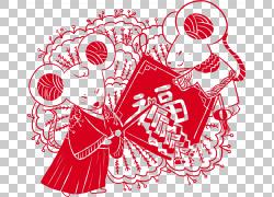 鼠年新年剪纸png素材 (12)图片