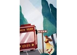 2020新年春节习俗插画