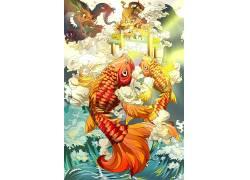 吉祥图案鲤鱼跳龙门新年插画