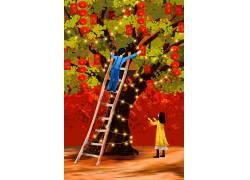 喜庆春节场景装饰树新年插画