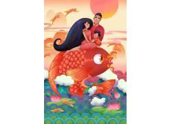祝你全家年年有余招财鱼新年插画