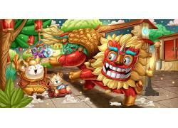 新年卡通狮子新春舞狮素材插画