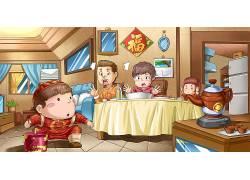 新年全家福道具插画