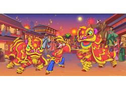 2020春节舞狮新年插画