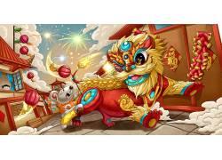 新年狮子表演插画
