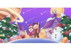 喜庆圣诞快乐新年插画