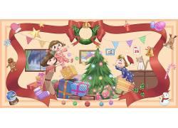 高峰礼物圣诞业务新年插画