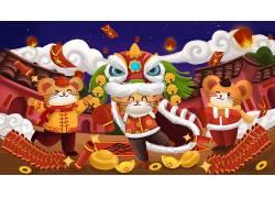 2020金鼠贺岁舞狮子新年插画