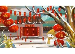 福炫彩大气鼠年新年插画