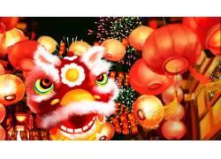 霸气红色狮子头新年插画